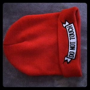 """ Do Not Touch"" Red knit Beanie"